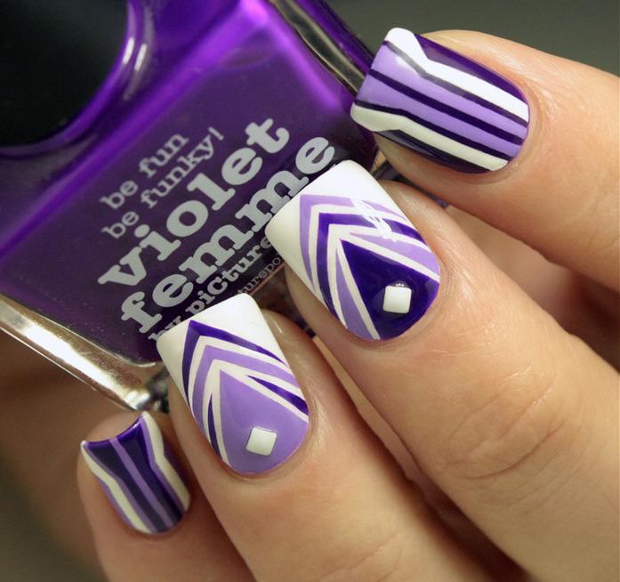 déco ongles avec bandes de striping tape vernis-violet-lilas-blanc