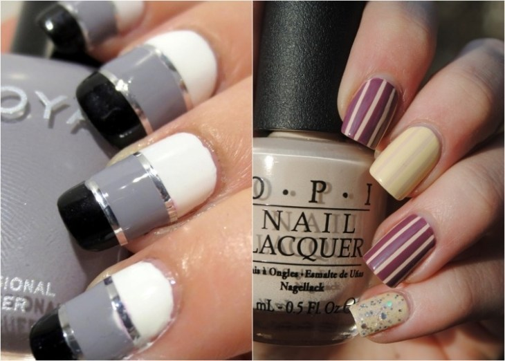 deco-ongles-bande-de-striping-tape-rayures-beige-noirs