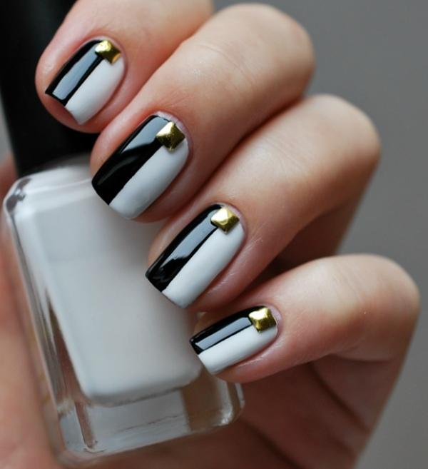 manucure origianle nail art noir blanc bijoux ongles or