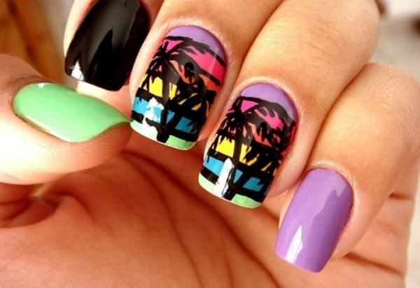 ongles-nail-art-tendance été 2015 couleurs palmier