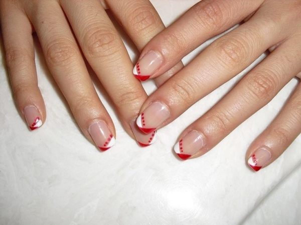 ongles-nail-art tendance design french blanc rouge