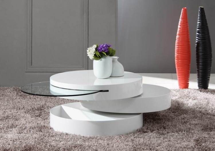 Couchtisch Kare Design Table Basse Design En Blanc Brillant - 30 Idées Super Tendance