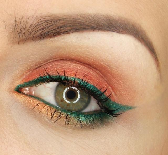 maquillage yeux idee-ete--corail-vert-mascara-sourcils