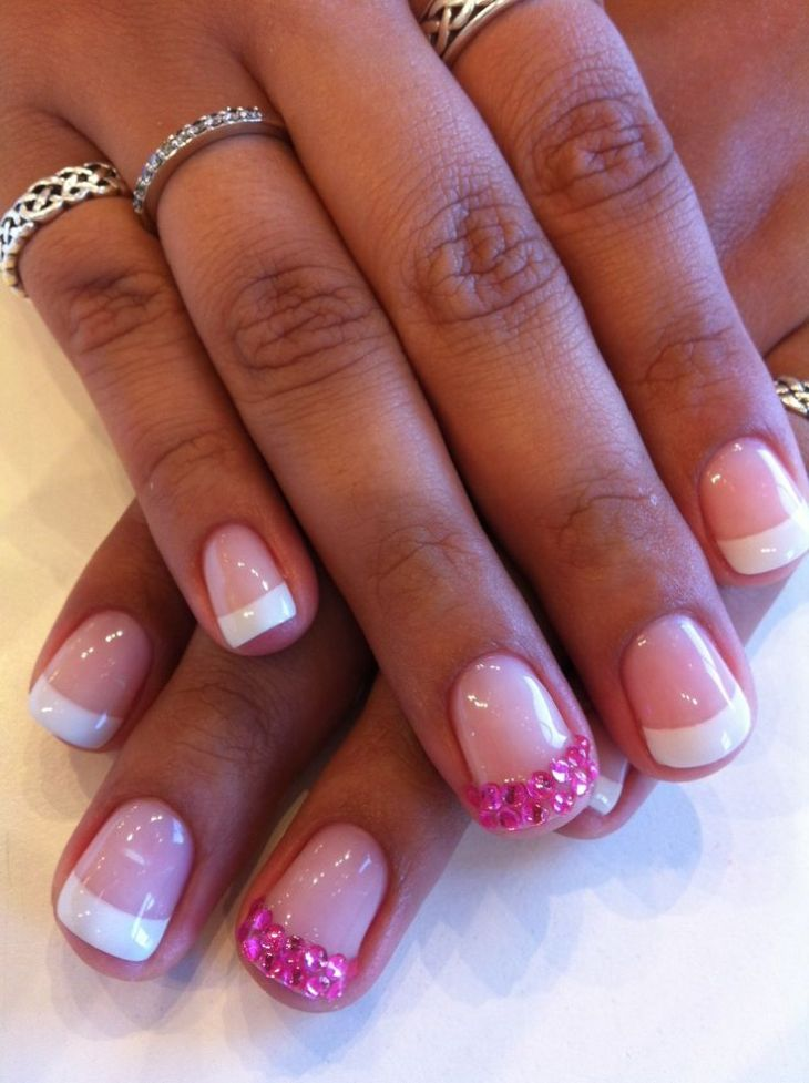 french manucure gel -strass-rose