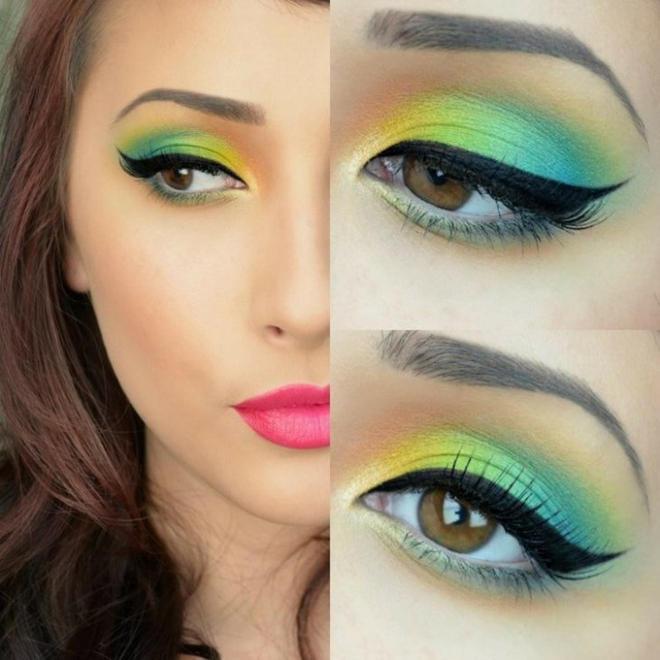 idees-maquillage-ete-arc-en-ciel-jaune-vert-bleu-eye-liner
