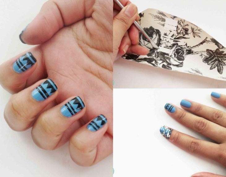 nail-art-motif-azteque-base-bleu-vernis