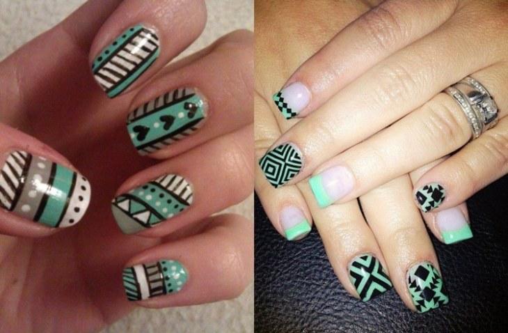 nail-art-motif-azteque-vert-menthe-base-transparente