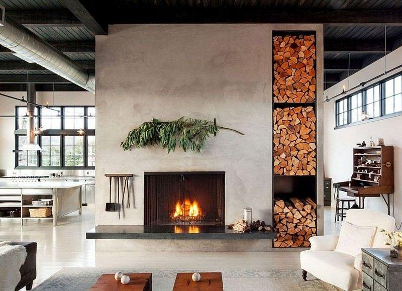 rangement-bois-chauffage-rack-vertical-cheminée-fermée-habillage - wohnzimmer design weiss