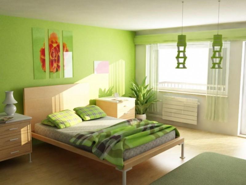 position-lit-feng-shui-fenêtre-peinture-murale-vert-anis-mobilier - peindre un lit en bois