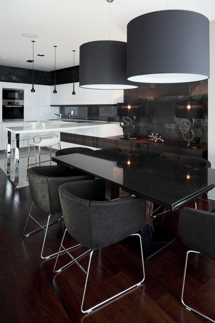 Table Salle A Manger Noir Et Blanc | Salle Manger Noir Blanc