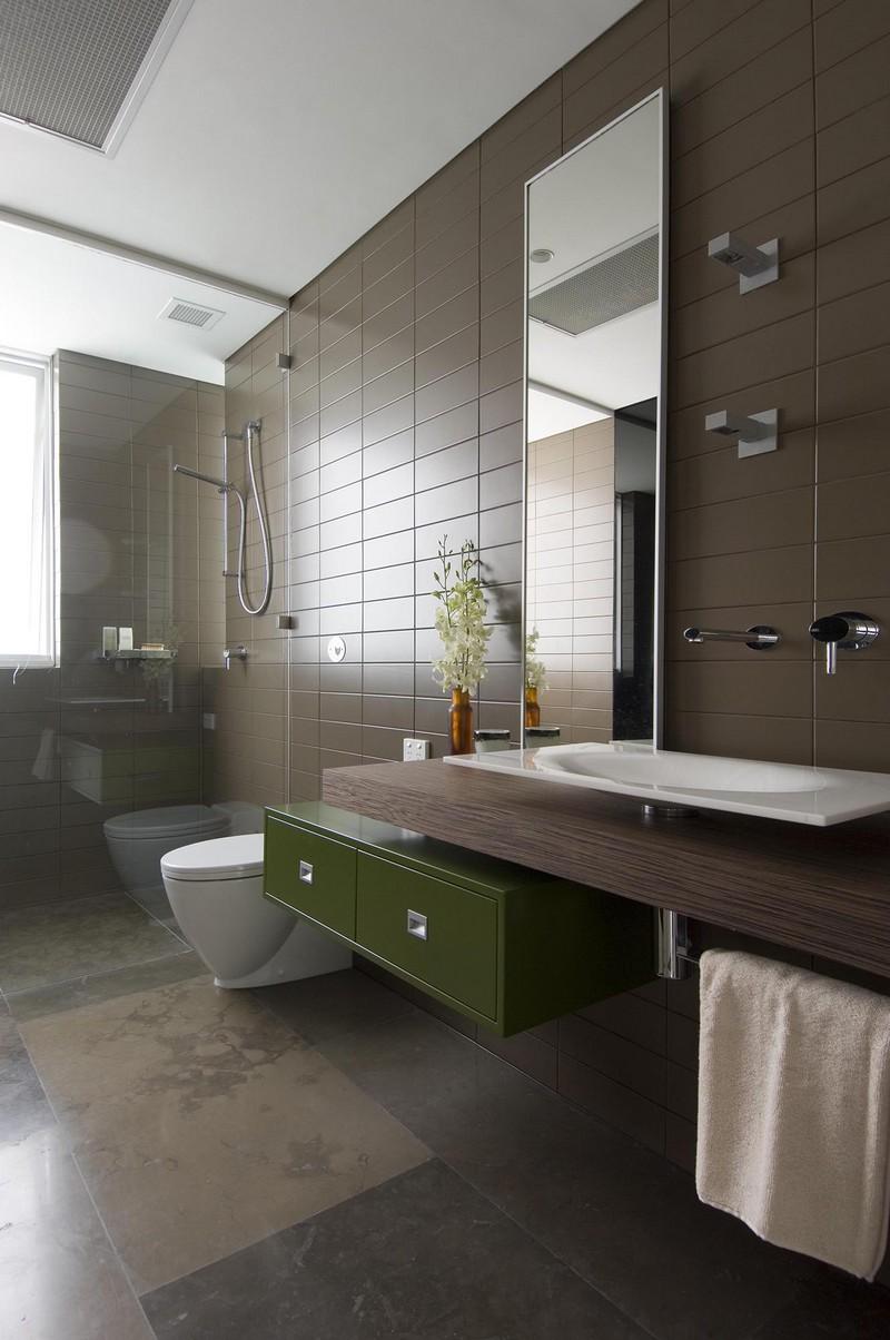 Incroyable Salle De Bain Vert Et Marron