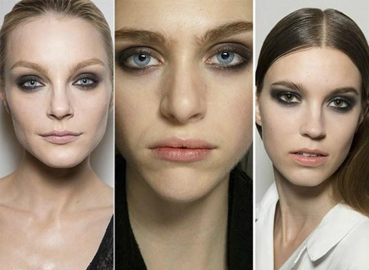 maquillage de soirée 2015-tendances-smokey-eye-nuances-gris-rouge-levres-pale