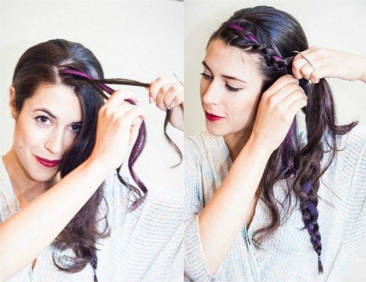 coiffure pour nouvel an frange-tressee-craie-rose-colorante
