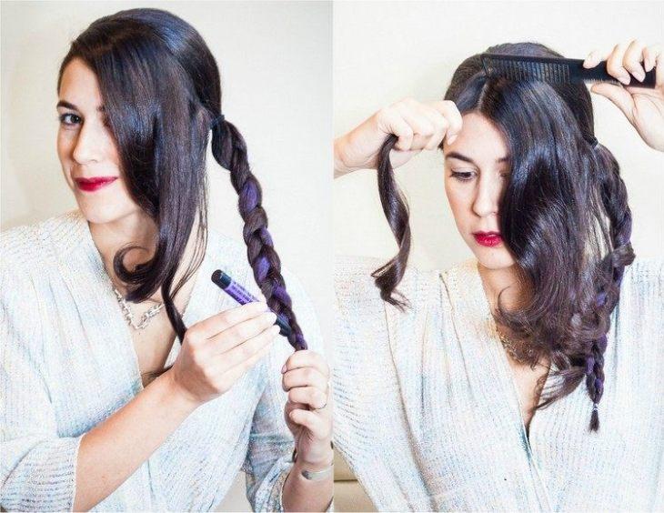 coiffure pour nouvel an tresse-laterale-craie-colorante-rose