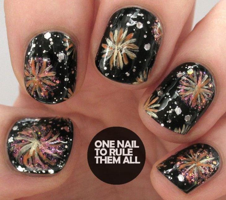 tuto nail art –nouvel-an-motif-feu-artifice-multicolore-paillettes