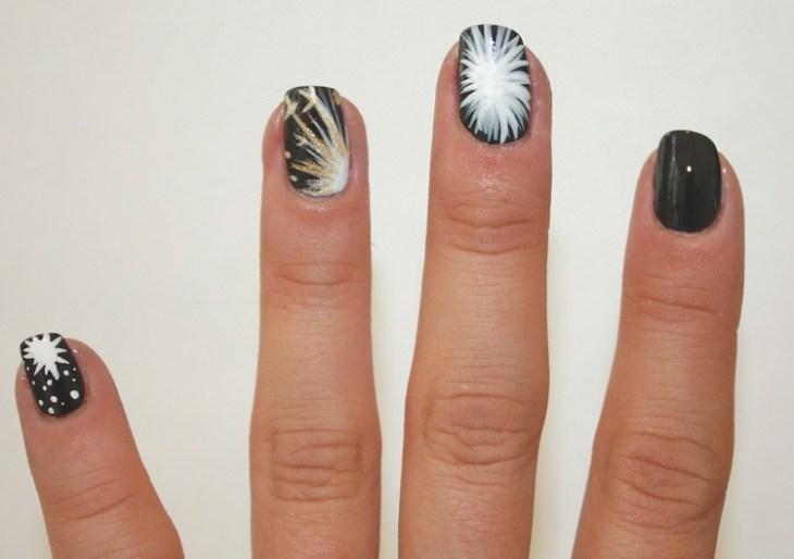 tuto nail art –nouvel-an-motif-feux-artifice-blanc-or