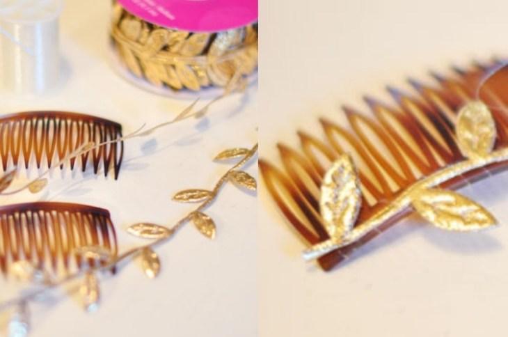 accessoire pour cheveux -peigne-cheveux-decorer-feuilles-dorees