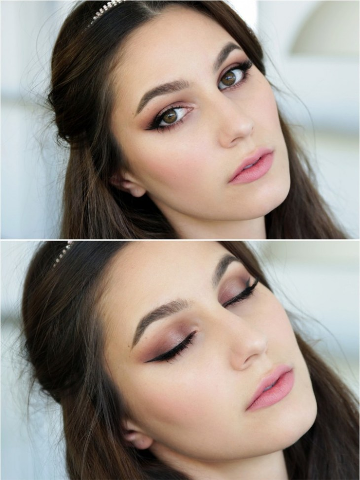 maquillage Saint-Valentin -romantique-rouge-levres-rose-pale-eye-liner-fard-paupieres-rose