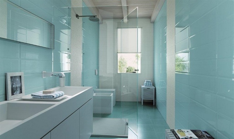 Carrelage Salle De Bain Bleu Et Blanc