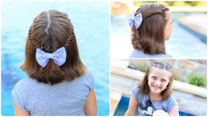 coiffure pour petite fille -coupe-carré-cheveux-mi-longs-tresses-latérales-épingle-cheveux-noeud