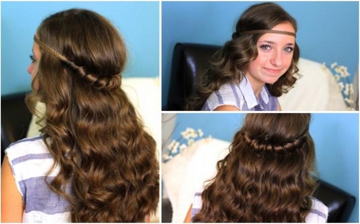 coiffure pour petite fille -headband-mèches-torsadées-cheveux-bouclés