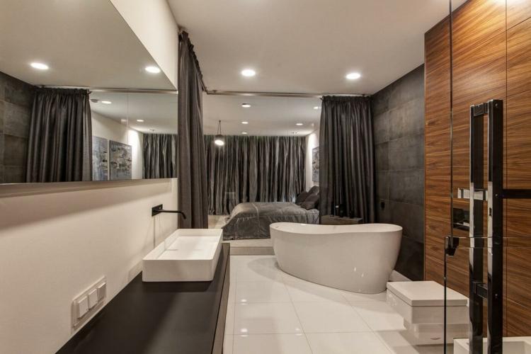 Salle De Bain Moderne Gris Et Blanc