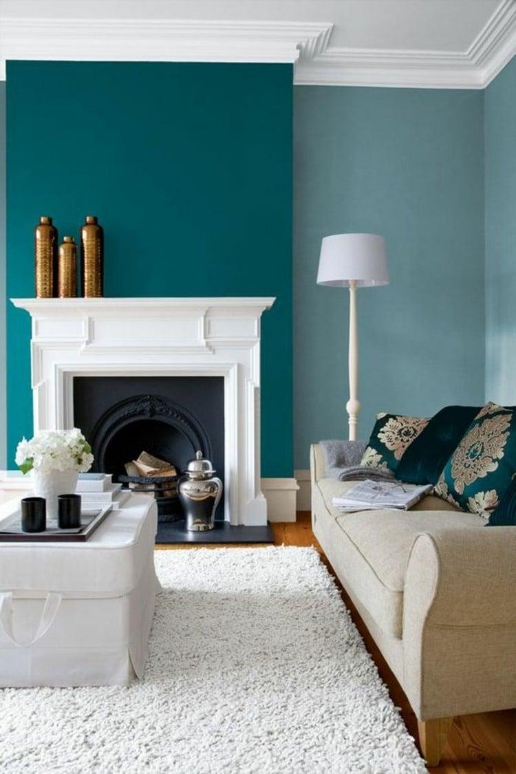 Décoration Intérieure Salon Bleu | Gris Contemporain Bleu Et Blanc ...