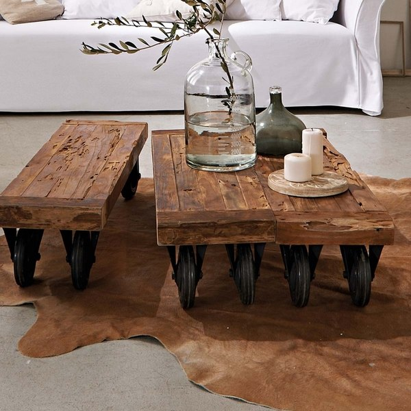 Couchtisch Holz Metal Rustic Coffee Table - The Accent In The Living Room Interior