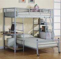 Functional teen room furniture ideas  metal bunk bed and