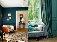 Teal living room design ideas  trendy interiors in a bold ...
