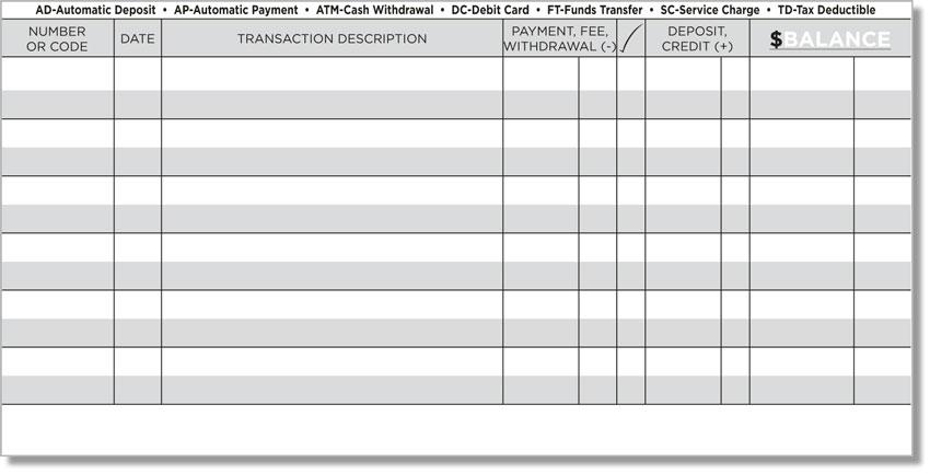 printable transaction register - Baskanidai - free checkbook register