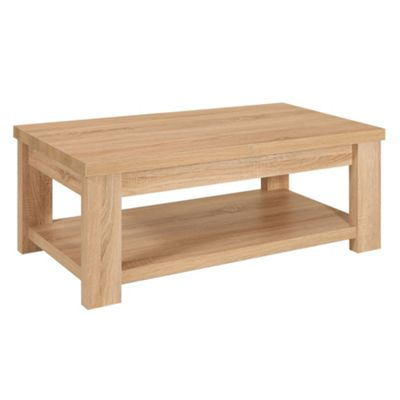 Washed white oak effect cleves coffee table with storage compartment