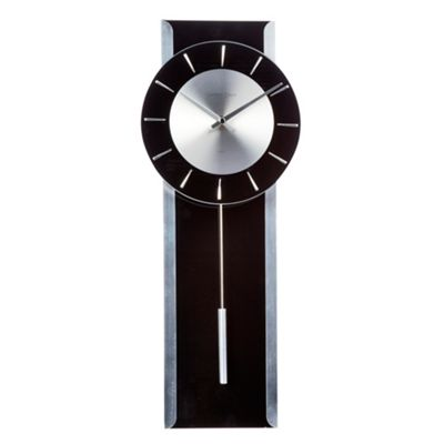 Wall Clocks Glass Debenhams Black Glass 39pendulum 39 Wall Clock Ebay
