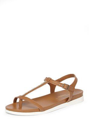 Dorothy perkins tan flamingo comfort footbed sandals