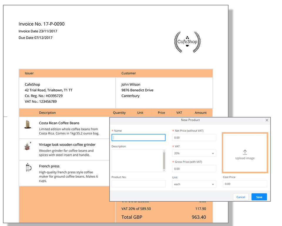 Add product images to your invoices! Debitoor invoicing