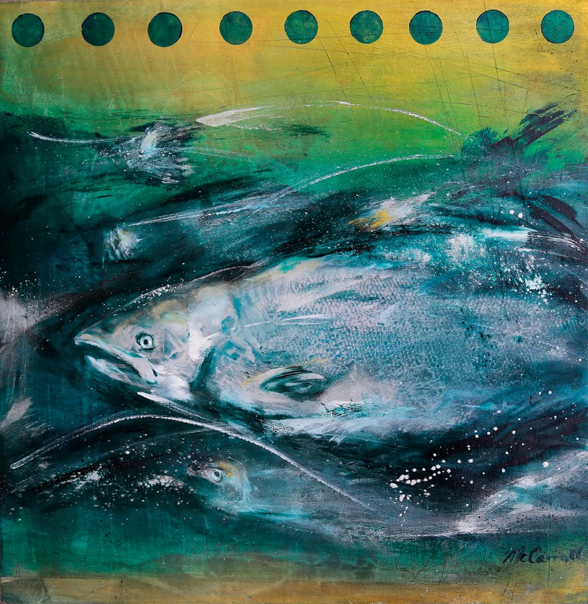Flashes  18 x 18 – printed king salmon in acrylic on cradled birch panel