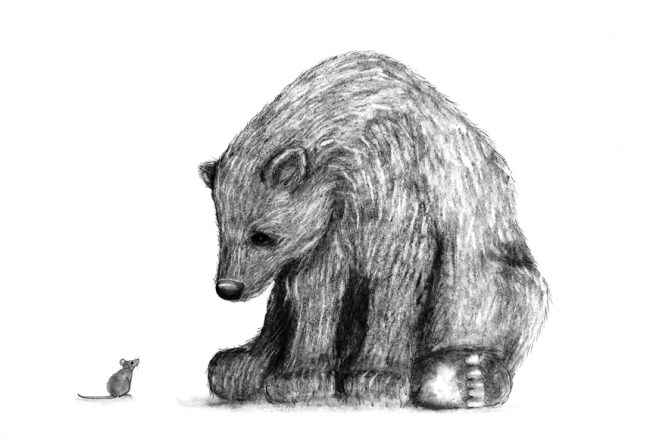 Bear and the Mouse charcoal drawing