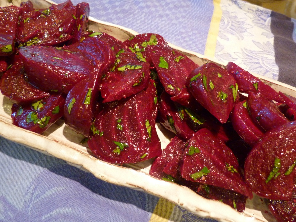 roasted beets on platter