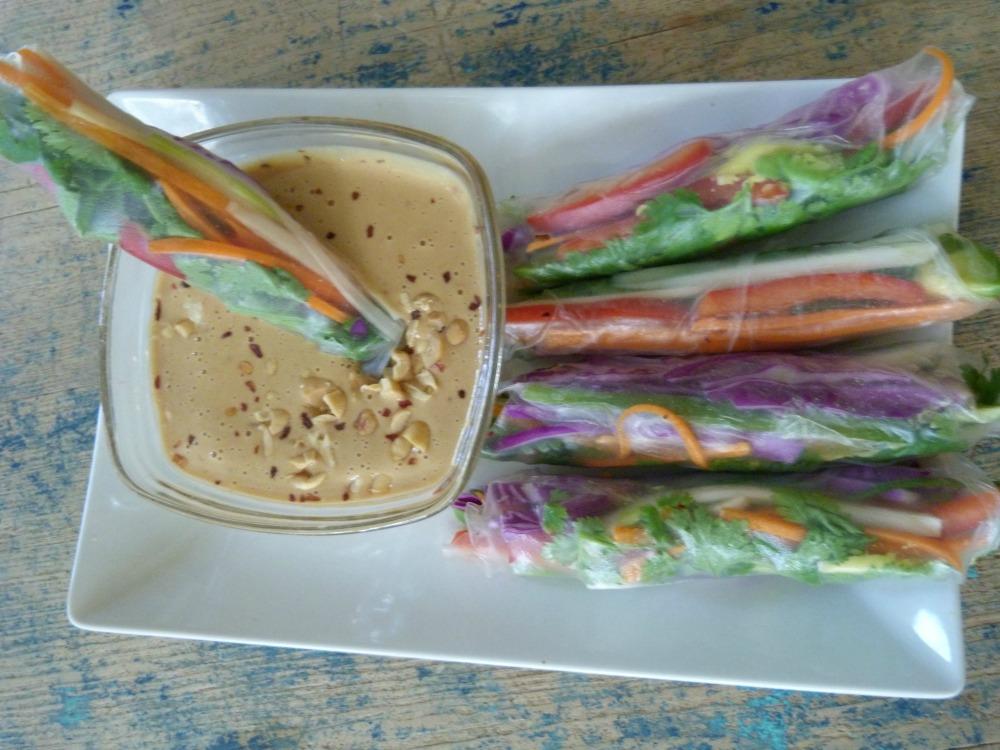 Veggie Spring Rolls with Peanut Sauce