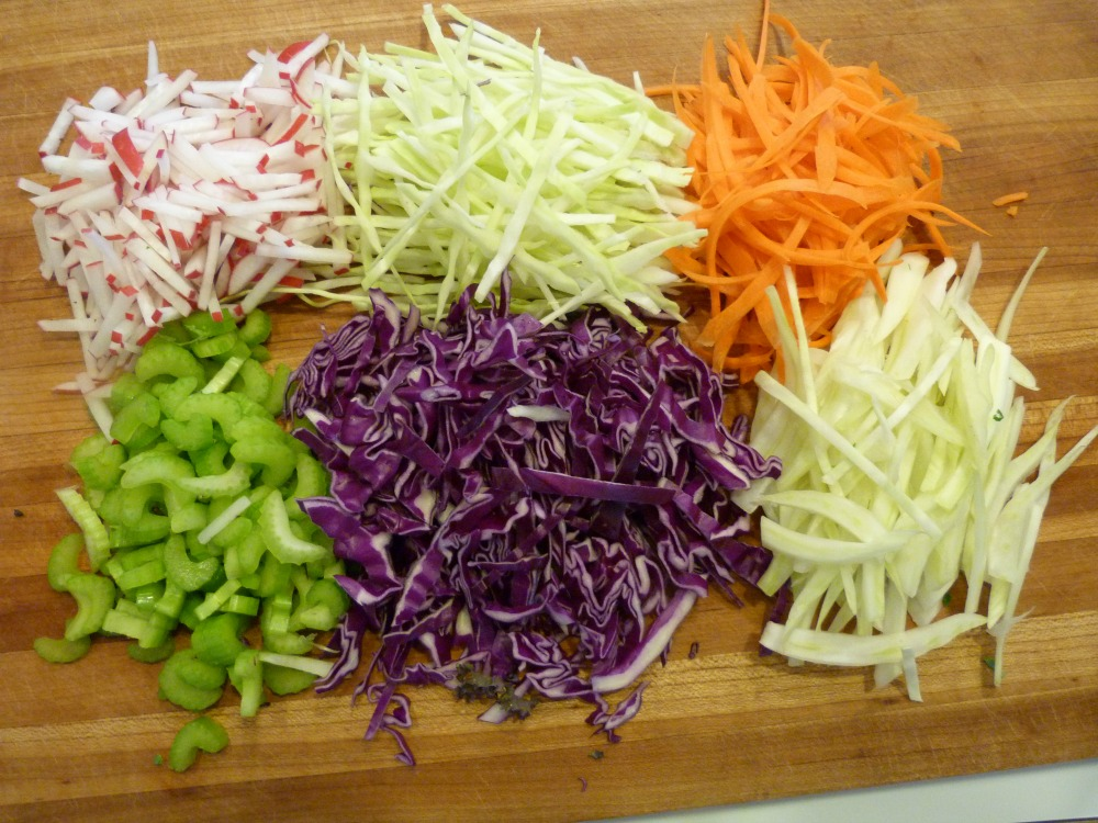Chopped Veggies for Delicious Detox Salad with Lemon Dressing
