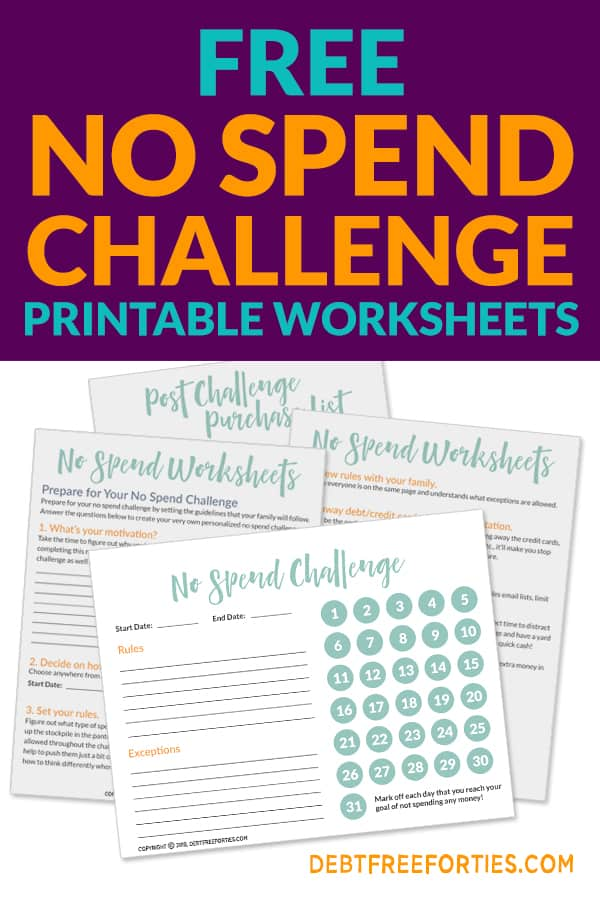 Free No Spend Challenge Printables - Debt Free Forties