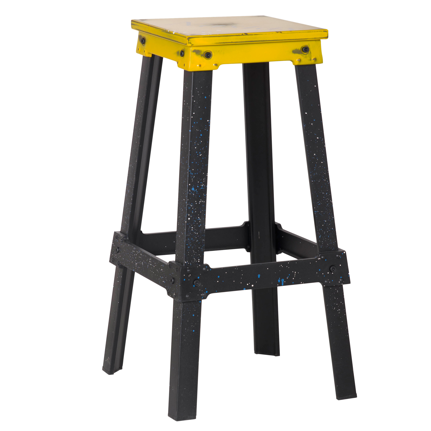 Metal Stools Decenthome Yellow Industrial Metal Bar Stool Ch0277 2