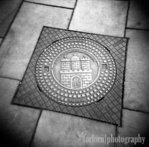 Here's the official emblem of Hamburg on a manhole cover. Camera: Holga 120N Film: Kodak Tri-X