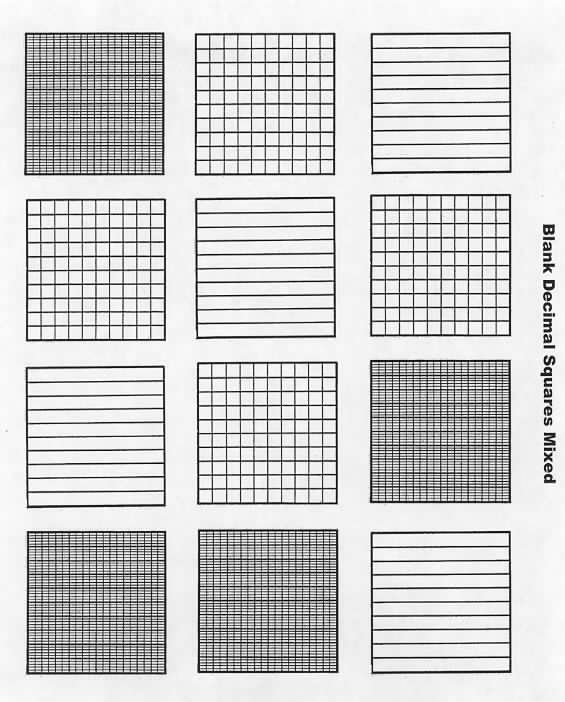 FREE blank decimal grids for tenths, hundreths \ thousandths on - grid paper template