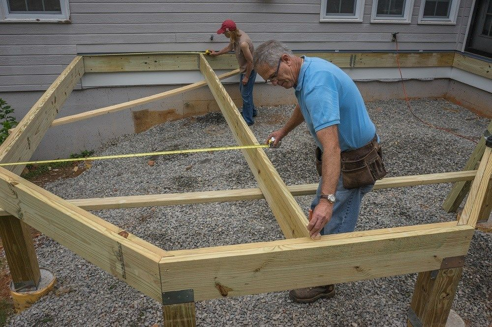 Deckscom Installing Joists On A Deck With Angles And A