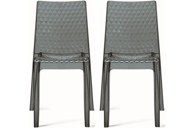 Lot De 4 Chaises Transparentes Lot De 2 Chaises Design Transparentes Grises Delphes