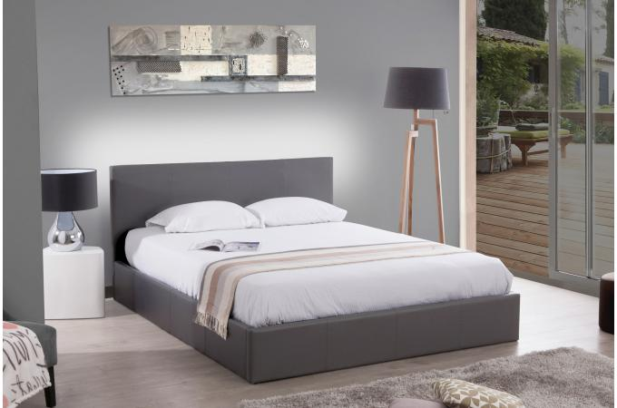 Lit Design Coffre Lit Coffre 140x190 Gris Anthology - Lit Design Pas Cher