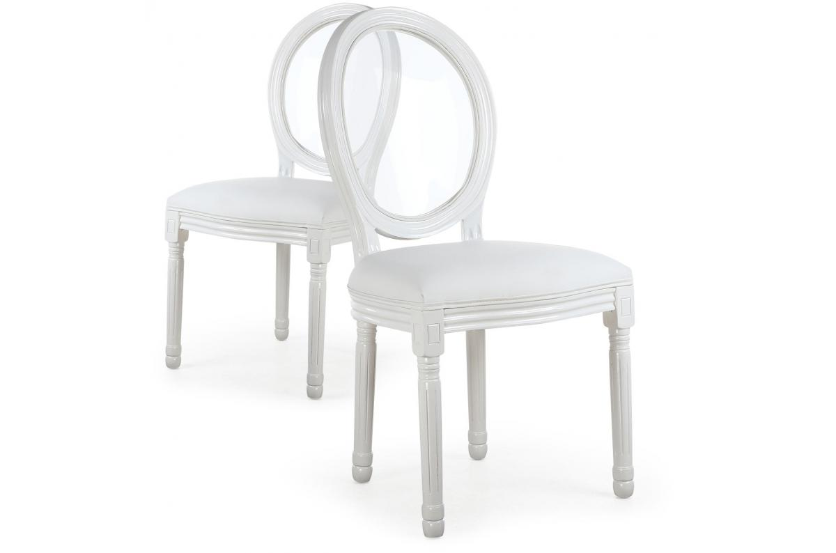 Lot De 2 Chaises Médaillon Transparent Blanc Louisa Chaise Pas Cher