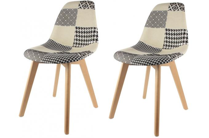 Chaises Scandinaves Beige Lot De 2 Chaises Scandinaves Patchwork Bicolores Fjord