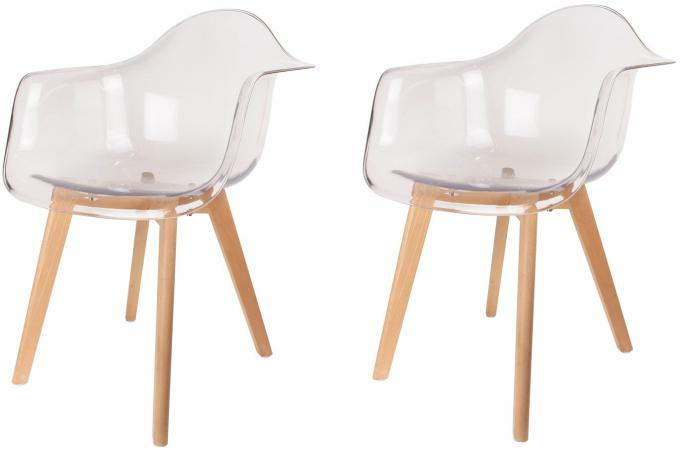 Lot De 6 Chaises Transparentes Lot De 2 Chaises Scandinaves Avec Accoudoir Transparentes